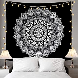 Ucio Wall Tapestry, Indian Hippie Bohemian Psychedelic Peacock Mandala Wall Hanging Bedding Tapestry (Black and White)
