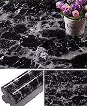 """Yancorp — Papel de parede de granito preto com bancada de mármore vinil autoadesivo — papel de parede adesivo, 24""""x197"""", B..."""