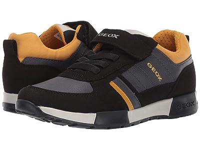 Geox Kids Jr Alfier 7 (Little Kid/Big Kid) (Black/Yellow) Boys Shoes