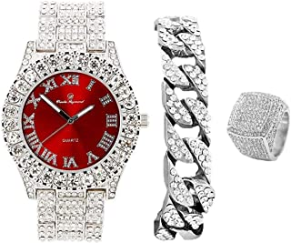 Mens Silver Big Rocks Bezel Bloody-Red Dial with Roman Numerals Fully Iced Out Watch w/Cuban Chain Bracelet & Ring Size 10...