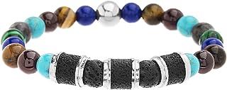 Steve Madden Multi Colored Stone Lava Bead Stretch Bracelet