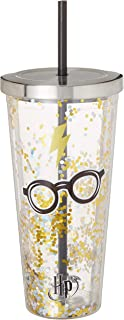 Spoontiques 21320 Harry Potter Glasses Glitter Cup w/Straw, 20 ounces, Gold