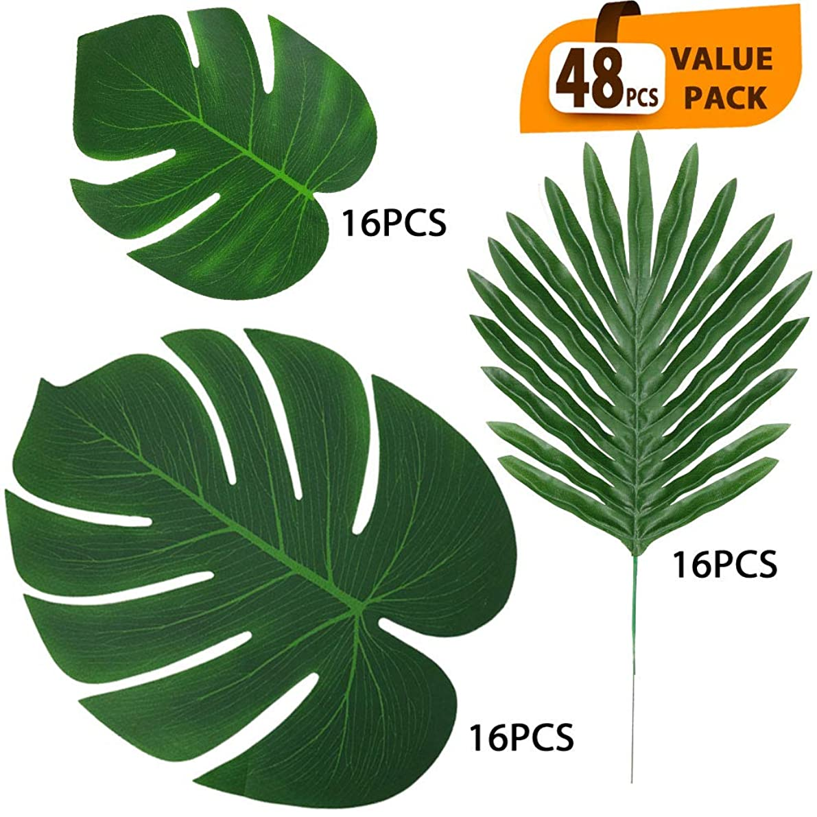 ElaDeco 48 Pcs Artificial Tropical Palm Leaves Luau Party Decoration Faux Palm Leaves Safari Leaves for Hawaiian Luau Party Jungle Beach Birthday Theme Decorations(3 Styles)
