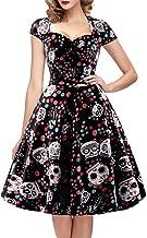 oten Women's Polka Dot Sugar Skull Vintage Swing Retro Rockabilly Cocktail Party Dress Cap Sleeve