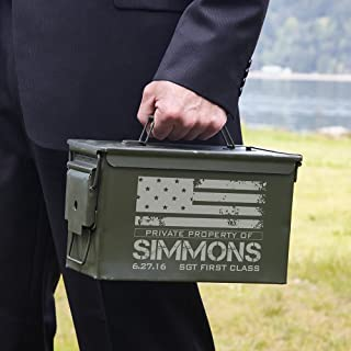 HomeWetBar American Heroes Personalized 50 Caliber Ammo Box Can (Custom Product)