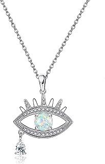 YADOCA 925 Sterling Silver Evil Eye Pendant Necklace Inlaid Created Opal Charm Crystal Tears Women's Symbolic Evil Eye Jew...