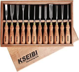 KSEIBI 312141 Industrial Wood Carving Tools Woodworking Kits For Beginners Through To Professionals Chisel Gouge W/ 12 Pieces Premium Ash Wood Handle In Wooden Box Hand Tools For Woodworking