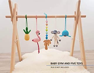 Tropical Baby Play Gym. Foldable Wood Gym Frame with 5 Mobiles. Handmade in Eastern Europe by LanaCrocheting. Activity Center Hanging Bar Newborn Gift, Crochet Rattles. Flamingo
