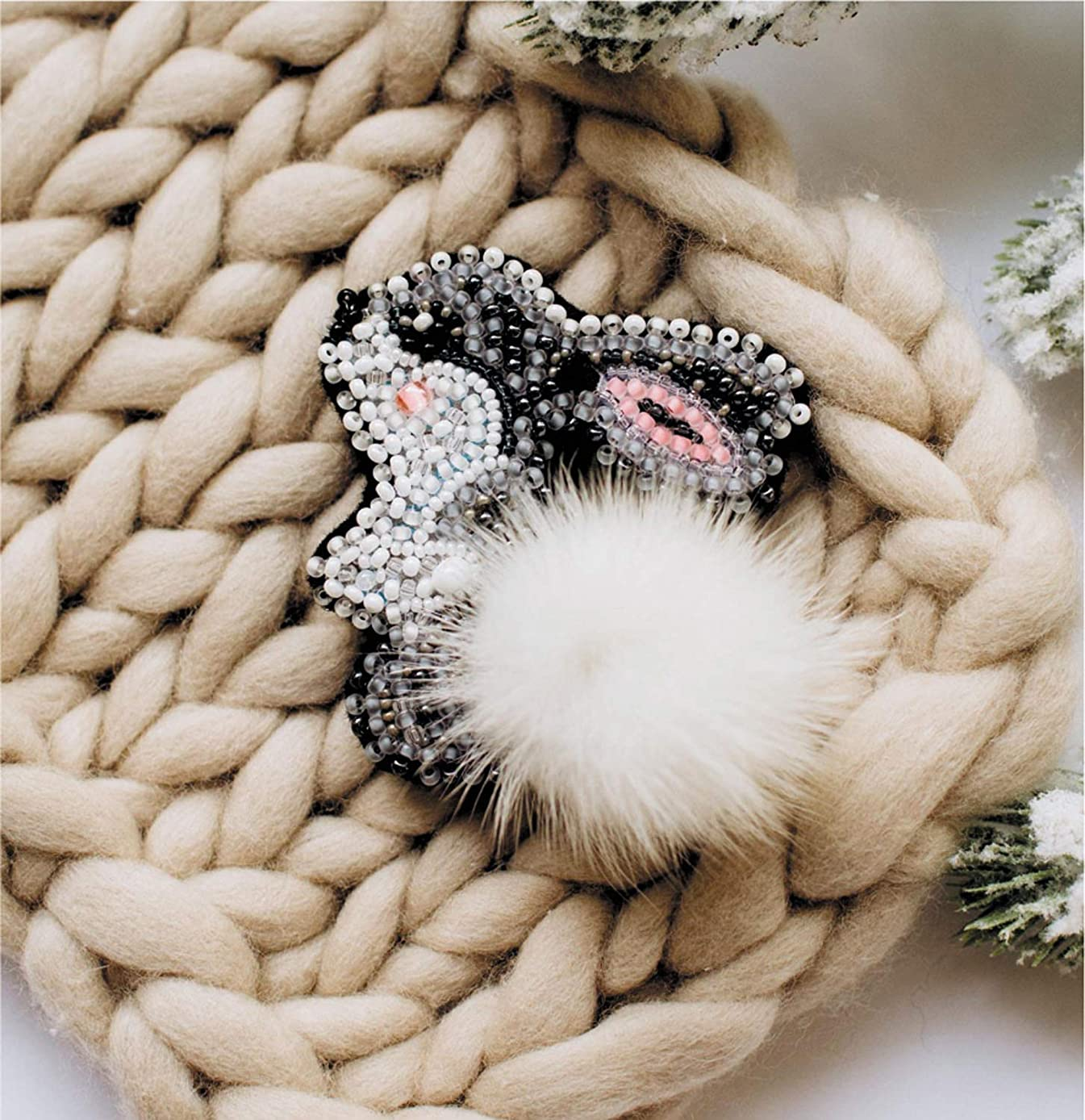 Rabbit DIY Bead Embroidery Brooch kit AD-026- Needlework-Awesome European Quality- Abris Art-Modern Embroidery-Decoration, Magnet, Craft