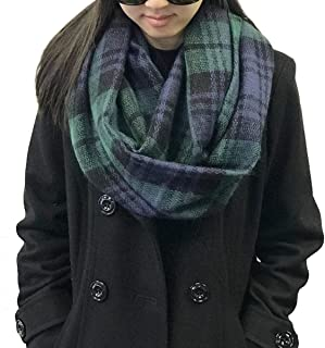 Wrapables Plaid Print Winter Infinity Scarf, Blue and Green