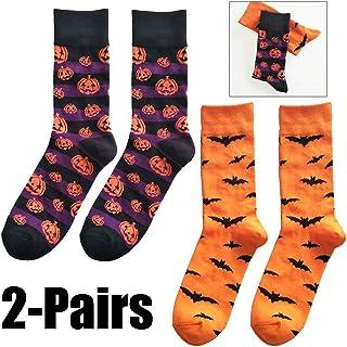Calcetines De Halloween para Hombre Calcetines De Equipo De Novedad Calcetines De Algodón De Patrón De Murciélago De Calabaza