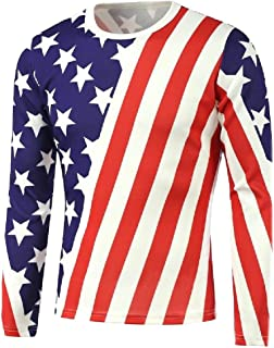 Tootlessly-Men Plus Size Fall Winter Overcoat American Flag Sweatshirts