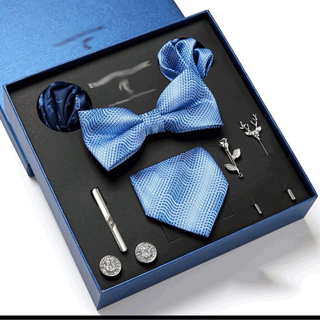 CDQYA Gift Box Packing Men's Vintage Formal Cravat Ascot Tie Self British Style Gentleman Silk Tie Set (Color : A)