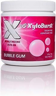 XyloBurst 100% Xylitol, Natural Chewing Gum 100 Count Jar Non GMO, Vegan, Aspartame Free, Sugar Free (Bubble Gum, 1 Jar)