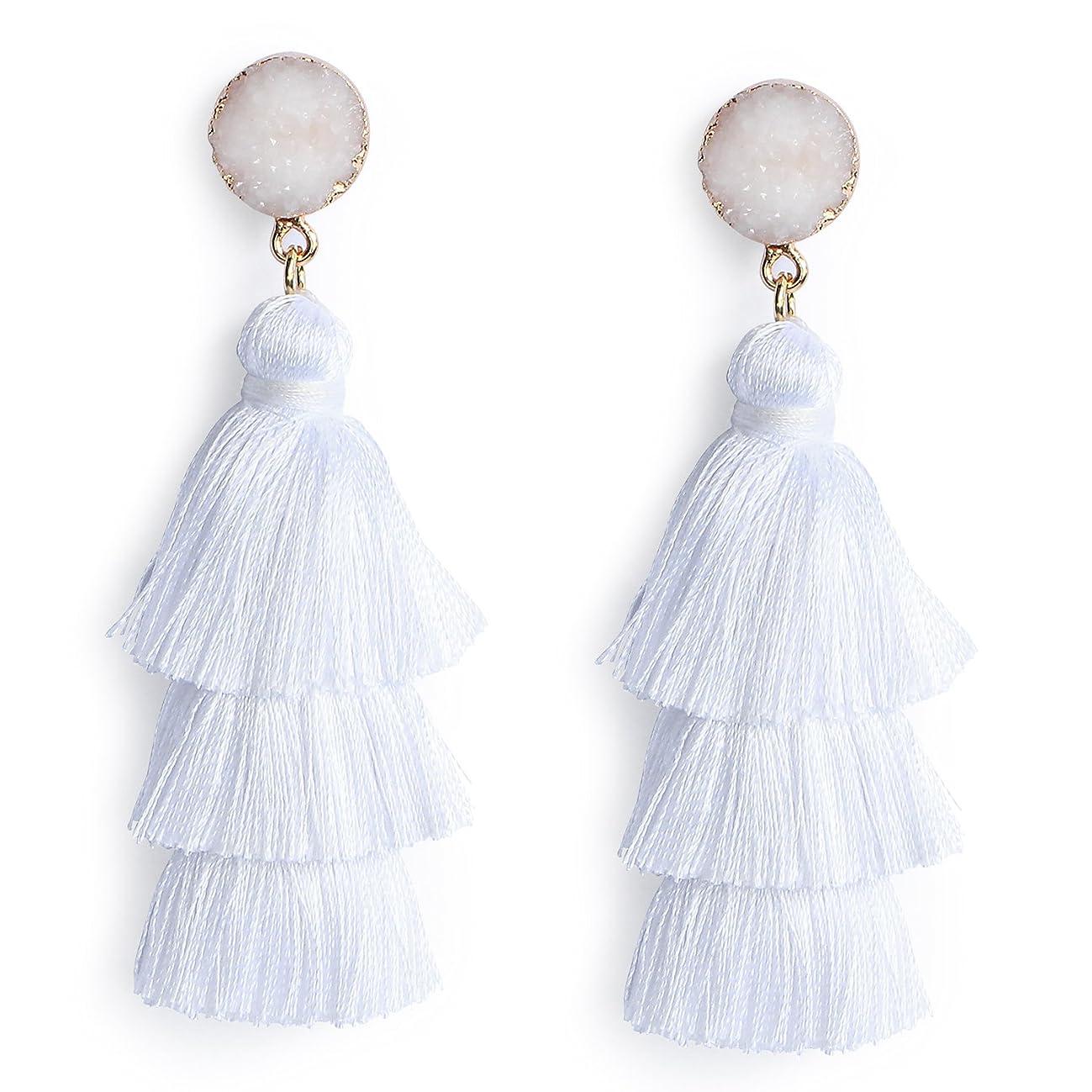 Colorful Layered Tassel Earrings Bohemian Dangle Drop Earrings Tiered Tassel Druzy Stud Earrings Gifts for Women Girls