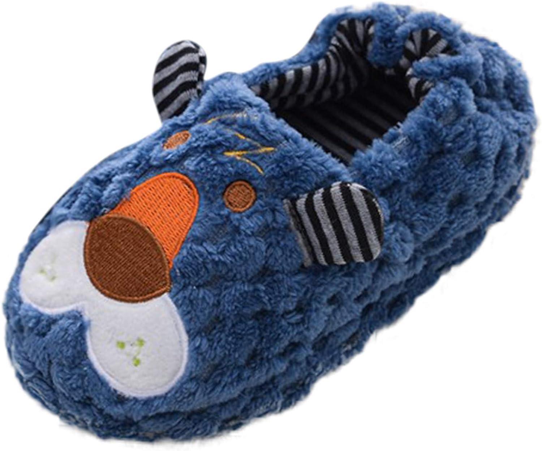 Boys Girls Fluffy Slippers Kids Warm Cute Animal Cartoon Fuzzy Slippers Winter Indoor Household Slippers