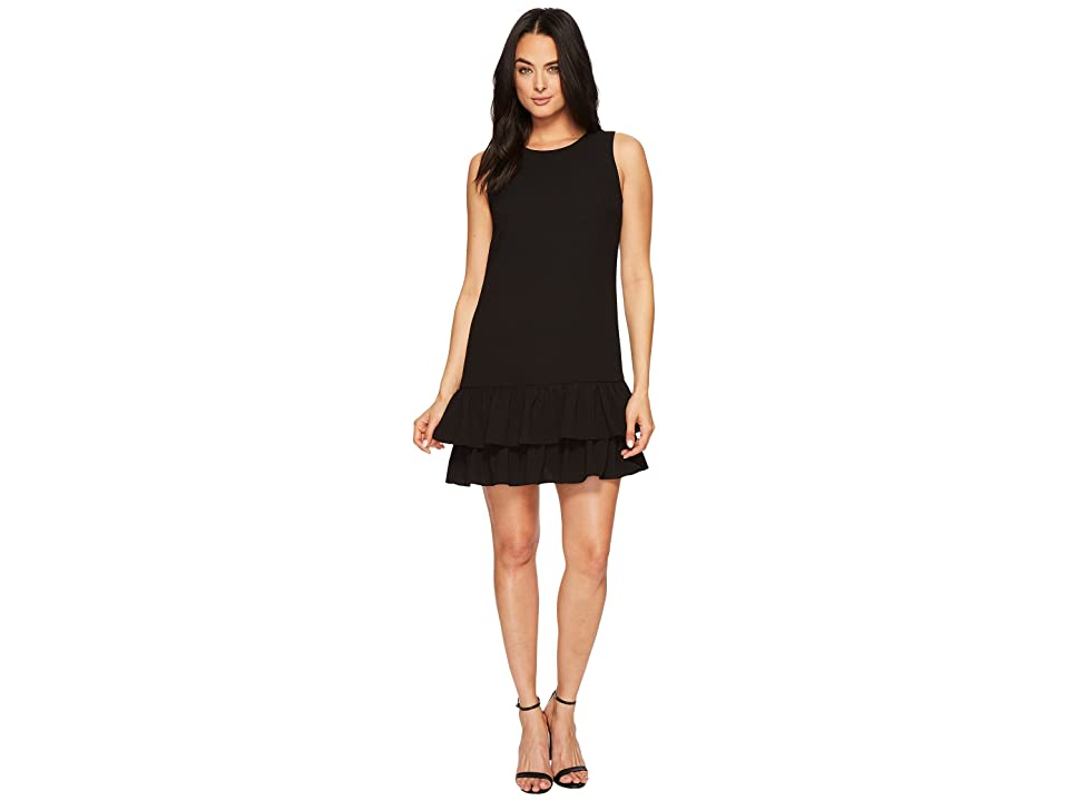 CeCe Macara Sleeveless Ruffle Hem Dress (Rich Black) Women