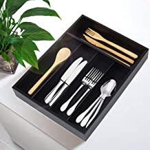 Silverware Utensil Tray Wooden Cutlery Drawer Dividers 5 Compartments Flatware Organizer Storage Holder Black Color Bamboo Flatware Organizer Good for Kitchen Office Supplies Cosmetics