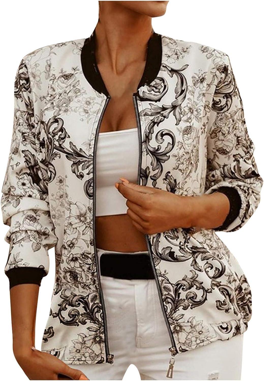 Hemlock Women Floral Print Jacket Retro Floral Bomber Jacket Long Sleeves Quilted Zip Up Bomber Jacket Short Coat