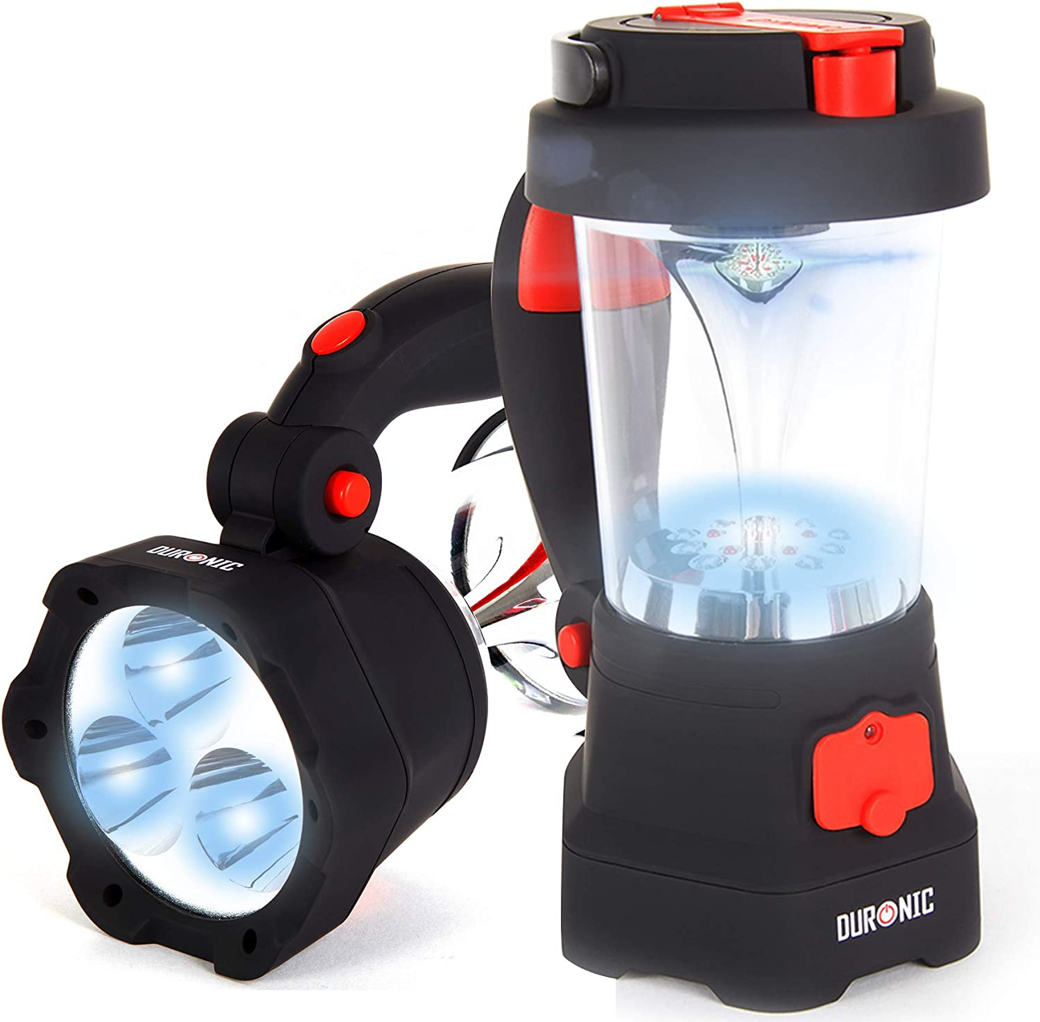 Duronic Hurricane 4 in 1 Rechargeable WindUp Dynamo Flashing Red LED, 10 LED Lantern & 3 LED Torch  USB Charging Function + 2 Year Warranty