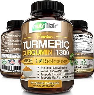 NutriFlair Premium Turmeric Curcumin Supplement (1300mg) with BioPerine Black Pepper (120 Capsules, 60 Day Supply) - Power...