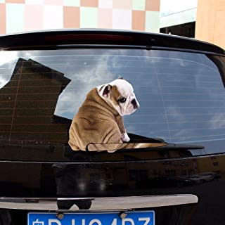 vylymuses 3D Car Stickers Cartoon, Funny Sharpei Dog Moving Tail Sticker Decal Vinyl Auto Window Wiper Deacl,Reflective Materials Car Decal,Rear Windshield Decor Sticker (Belldog)