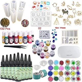 8X UV Resin Crystal Clear Epoxy Fast Drying 10 Molds 17 Bezels 13 Solid Color Liquid Dyes Pigment 36 Holographic Sequins Dried Flowers Decoration with Portable UV Lamp Jewelry Crafts Making Kit