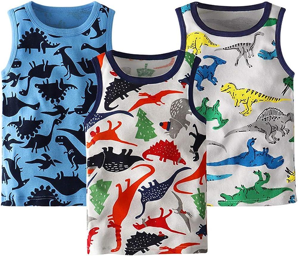 Frogwill Toddler Boys Tank Top Dinosaur Printed 3 Pack Undershirt 18M-6Y