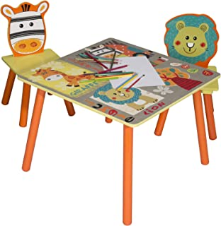 eSituro SCTS0006 Ensemble de Table et chaises pour Enfant Set 1 Table et 2 chaises en MDF Robuste Motif Jungle