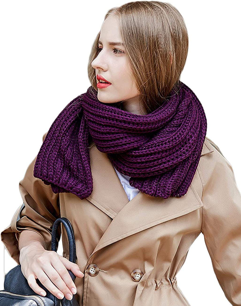 LUAN Women Men Thick Cable Chunky Knit Scarf Winter Soft Warm Long Solid Colors (Purplu, 72.8