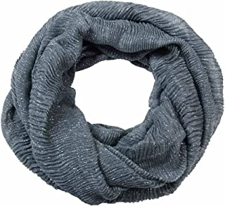 Women's Infinity Scarf Pleated Crinkle With Silver Metallic Charcoal Grey