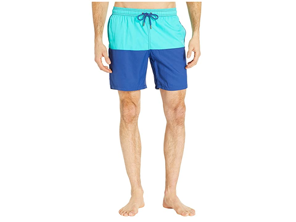 Mr. Swim Color Block Dale Swim Trunks (Aqua/Blue) Men