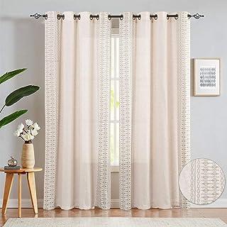 Embroidered Window Curtains for Living Room- Quatrefoil Flax Linen Blend Textured Geometry Lattice Grommet Window Treatmen...