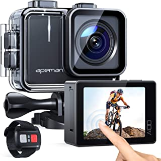 APEMAN Action Cam A100, Touch Screen Nativo 4K/50FPS 20MP WiFi Impermeabile 40M Fotocamera, Avanzato Sensore Super EIS Sta...