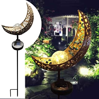 DSDecor Solar Lights Outdoor Decorative Metal Moon Shape LED Crackle Glass Globes Light with Stakes for Garden Yard Lawn P...