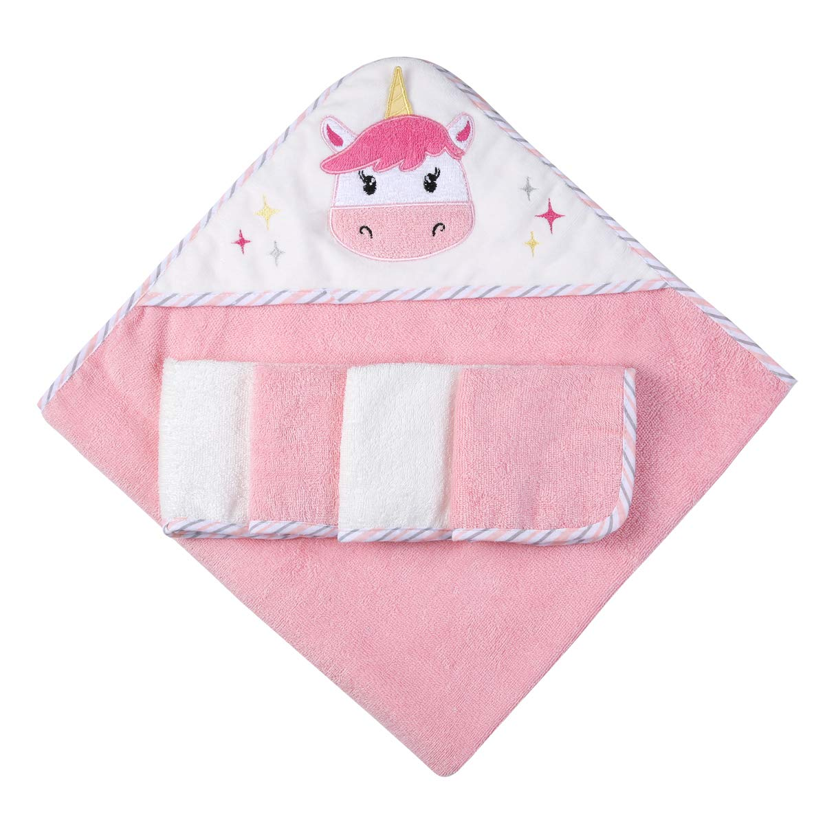 Ramees Baby online shopping Hooded Bath Towel and Financial sales sale Washcloths Pink Unico 5 Pack