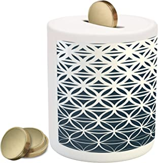 Ambesonne Abstract Piggy Bank, Retro Geometric Ombre Inspired Pattern Classic Halftoned Monochrome Curves, Ceramic Coin Bank Money Box for Cash Saving, 3.6