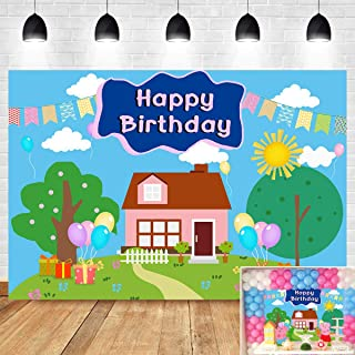 Cartoon House Tree Photography Backdrop Vinyl 7x5ft for Children Kids Happy 2nd Birthday Party Banner Supplies Sweet Colorful Photo Background Baby Shower Photo Booth Studio Props Cake Table