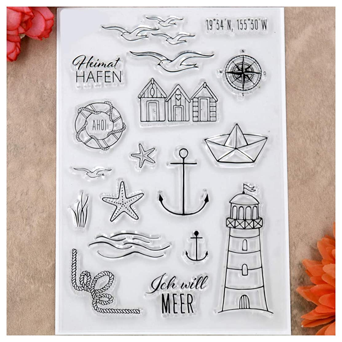Kwan Crafts Lighthouse Starfish Compass Seagull Clear Stamps for Card Making Decoration and DIY Scrapbooking