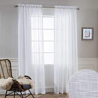 RYB HOME White Sheer Curtains 84 inches Long, Semi Sheer Linen Curtains Privacy Natural Linen Blend Drapes Sunlight Filter...