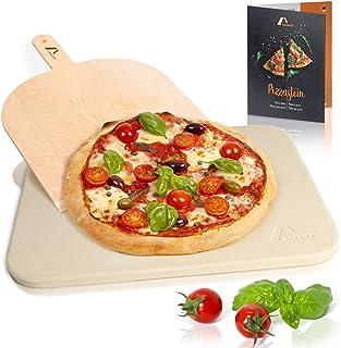 Amazy Piedra para pizza (38 x 30 x 1,5 cm) + Pala + Instrucciones - Dele a su pizza el original sabor italiano al horno de leña.