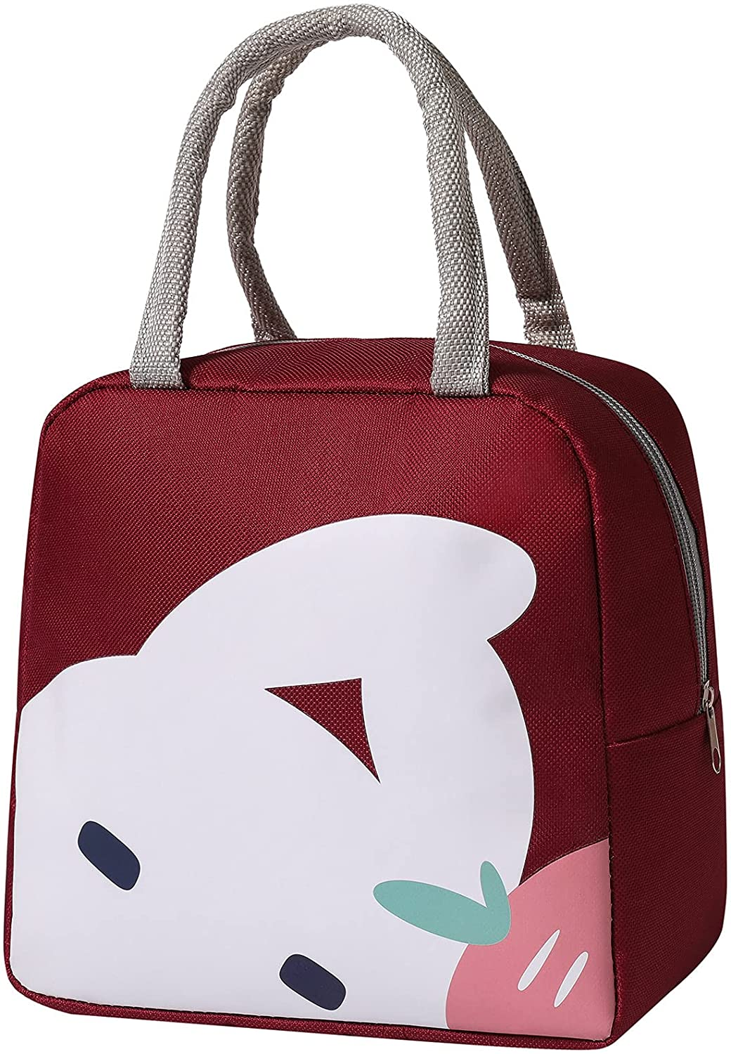Mziart Cute Lunch Bags for Women, Cartoon Thermal Lunch Tote Bag Lunch Box Containers Cooler for Adult Boys Girls School Picnic Travel (Wine Red Rabbit)