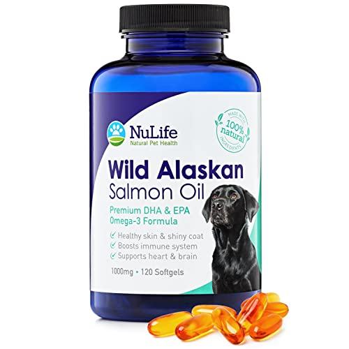 NuLife Natural Pet Health Pure Wild Alaskan Salmon Oil for Dogs, Omega 3 Fish Oil Supplement for Healthy Skin & Shiny Coat, Prevents Itchy Skin, Skin Allergies & Shedding, 120 Soft Capsules