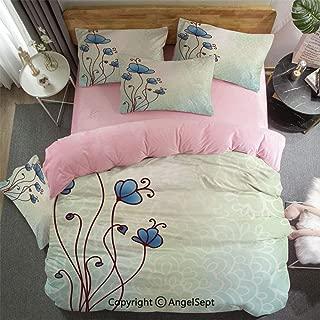 3 Piece Twin Bed Set Includes Reversible Comforter & Sheet Set Spring Petal Birthday Celebration Valentines Flourish Beauty Girlish Print Decorative Super Soft Fade Resistant Pale and Violet Blue