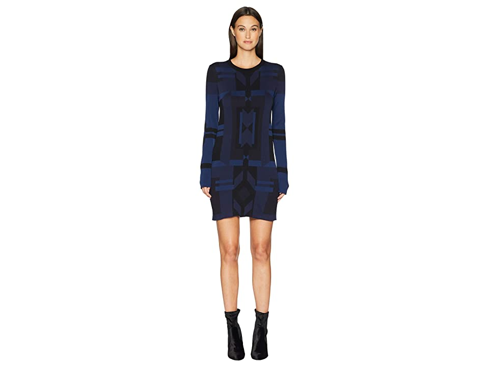 Neil Barrett Deco Design Tech Yarn Dress (Black/Dark Navy) Women