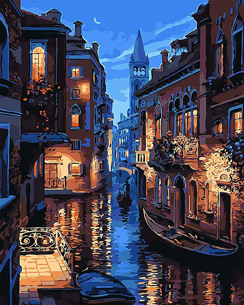 SHUAXIN DIY Oil Painting Paint by Number Kits on Canvas for Adults Kids Arts Craft for Home Wall Decor Venice Evening 16x20 Inch Without Frame