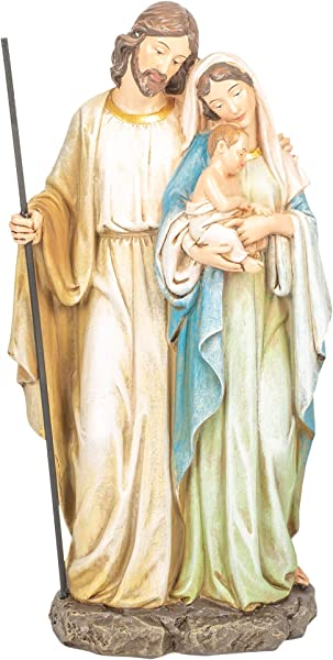 Roman Holy Family Mary Standing Holding Baby Jesus 12 Inch Resin Holiday Figurine