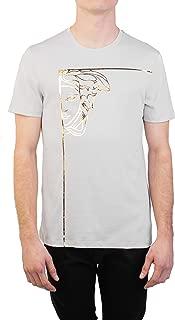 Versace Collection Men's Cotton Angular Medusa Graphic T-Shirt Gray