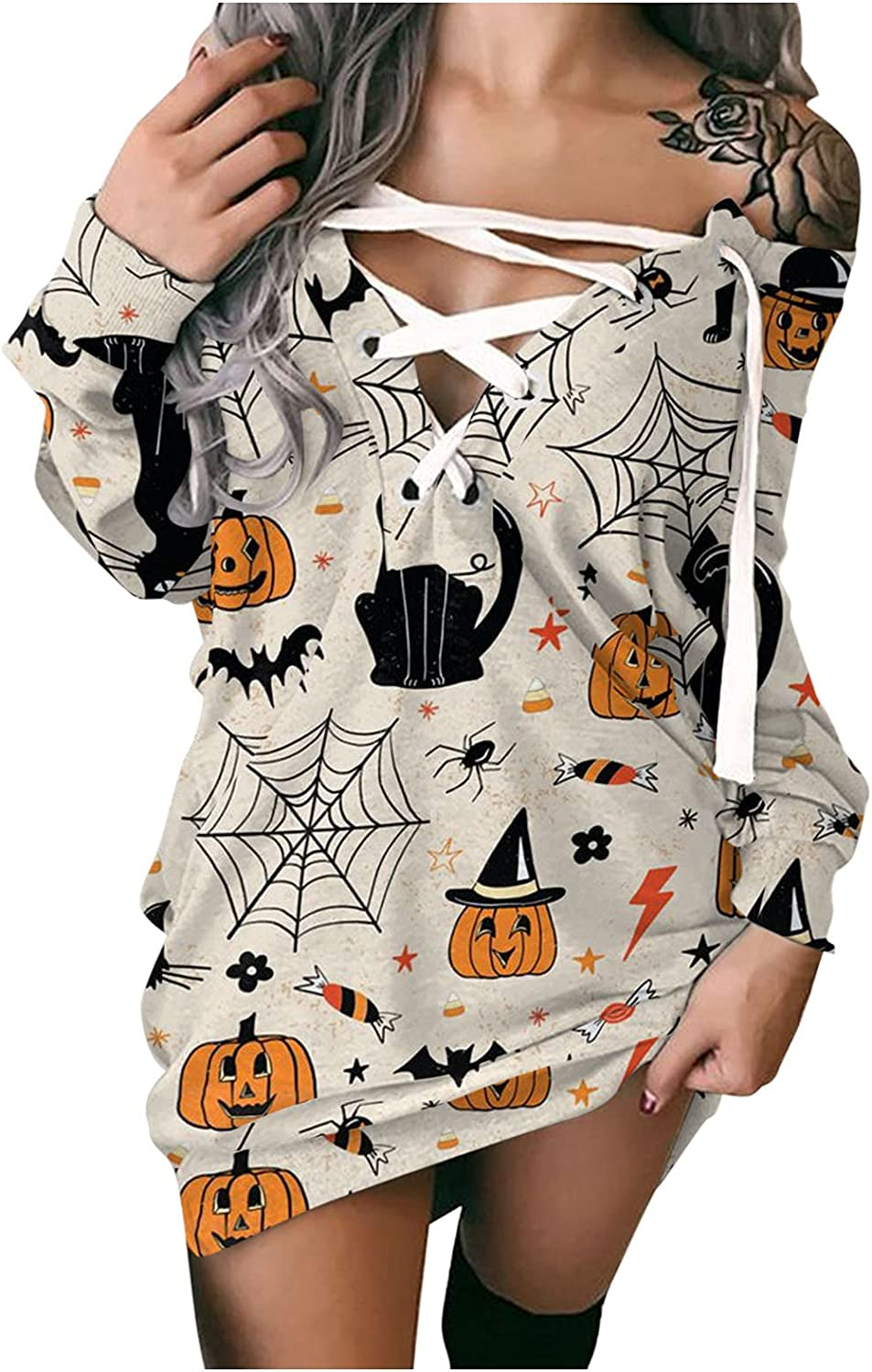 DIJING Women's Halloween Prints Off-Shoulder Long Strappy Sleeve Inventory cleanup selling sale Limited Special Price