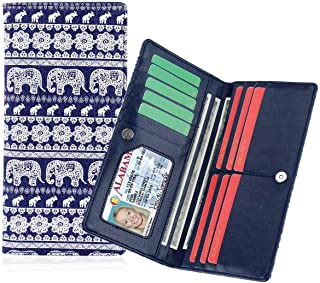 Smith Sursee Women's Slim Snap Bifold Wallets Multi Card Holder Organizer with Snap Fastener ID Window for Ladies Girls (Elephant)